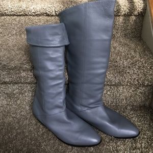 Slate Grey Blue Buttery Soft Leather Boots